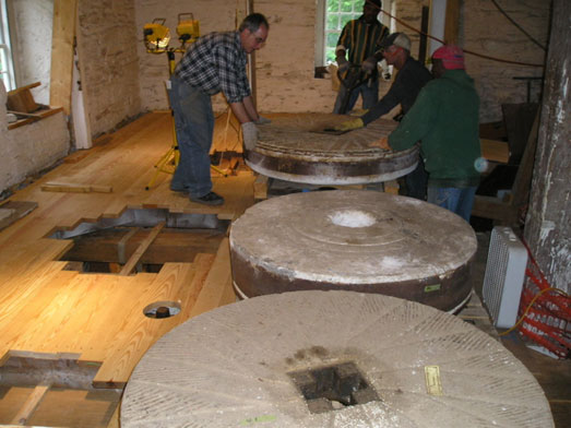 The millstones were moved back into position in September 2010.