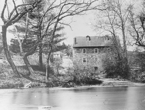 View of Peirce Mill across Rock Creek, circa 1900 (Library of Congress).
