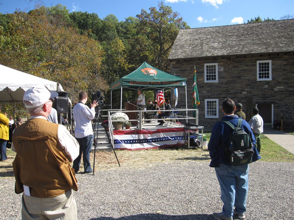 A stage was set up outside the mill for the grand reopening ceremony in October 2011.