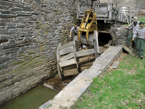 The old mill wheel was removed in April 2005.