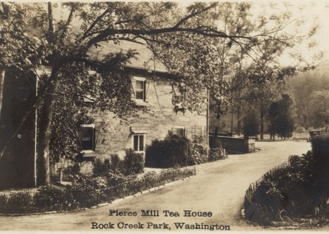 A black and white postcard image of Peirce Mill from the early 20th century.