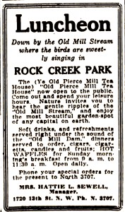 Advertisement for Peirce Mill Teahouse, July 1920